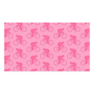 Modelo rosado de la bicicleta tarjetas de visita