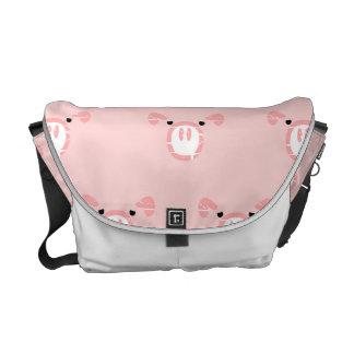 Modelo rosado de la cara del cerdo bolsa de mensajeria