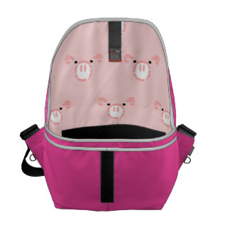 Modelo rosado de la cara del cerdo bolsas messenger