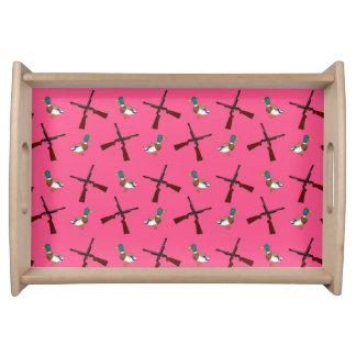 modelo rosado de la caza del pato bandejas