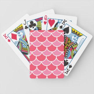 Modelo rosado de la concha de peregrino baraja de cartas