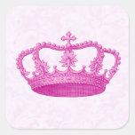 Modelo rosado de la corona del vintage pegatina cuadradas