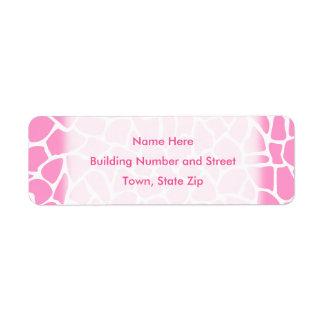 Modelo rosado de la jirafa del estampado de animal etiquetas de remite