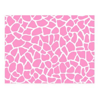 Modelo rosado de la jirafa del estampado de animal tarjetas postales
