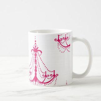 modelo rosado de la lámpara de la frambuesa en bla taza de café