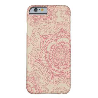 Modelo rosado de la mandala funda de iPhone 6 barely there