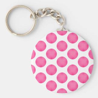 Modelo rosado de la pelota de golf llaveros
