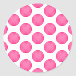 Modelo rosado de la pelota de golf pegatina redonda