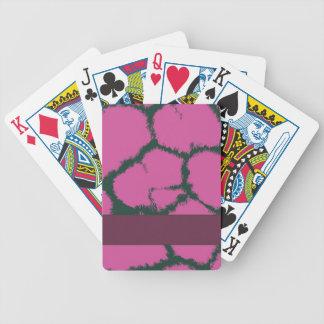 Modelo rosado de la piel de la jirafa baraja de cartas