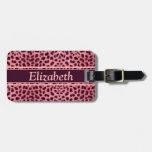 Modelo rosado de la piel del leopardo etiquetas bolsa