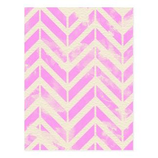 Modelo rosado de la raspa de arenque de la tarjeta postal