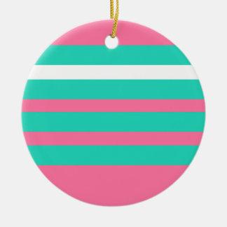 modelo rosado de la raya del blanco y del trullo adorno redondo de cerámica