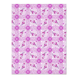 """Modelo rosado de la tela escocesa del Axolotl Invitación 4.25"""" X 5.5"""""""
