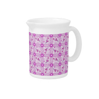 Modelo rosado de la tela escocesa del Axolotl Jarra Para Bebida