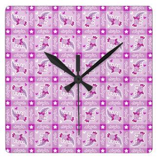 Modelo rosado de la tela escocesa del Axolotl Reloj