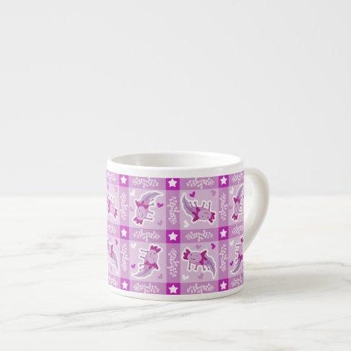 Modelo rosado de la tela escocesa del Axolotl Taza Espresso