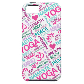 Modelo rosado de la YOGA de Namaste, de la paz y d iPhone 5 Case-Mate Protector