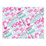 Modelo rosado de la YOGA de Namaste, de la paz y d Postal