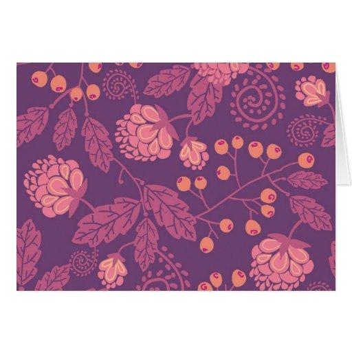 Modelo rosado de las bayas del jardín tarjeta de felicitación