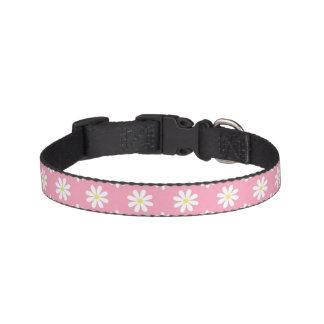 Modelo rosado de las margaritas collar para perro