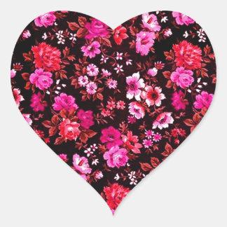 Modelo rosado de las margaritas del Rockabilly Pegatina En Forma De Corazón
