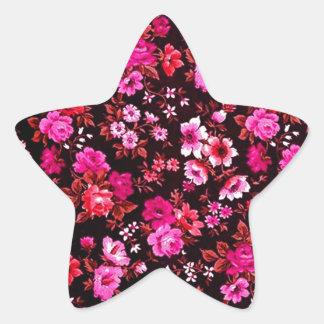Modelo rosado de las margaritas del Rockabilly Pegatina En Forma De Estrella