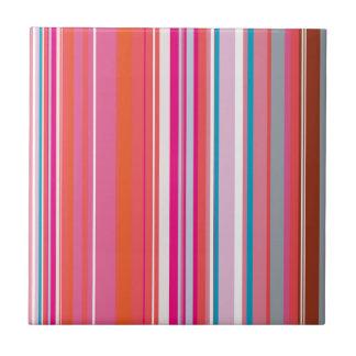 Modelo rosado de las rayas azulejo cuadrado pequeño