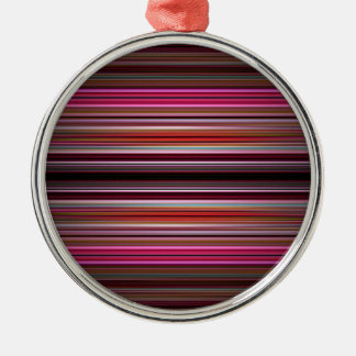 Modelo rosado de las rayas adorno redondo plateado