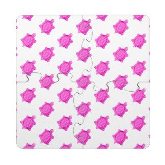 Modelo rosado de las tortugas posavasos de puzzle