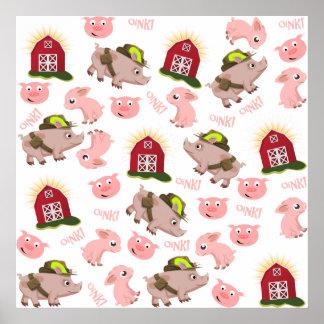 Modelo rosado de los cerdos póster