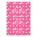 Modelo rosado de los copos de nieve del navidad invitación 12,7 x 17,8 cm