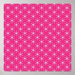 Modelo rosado de los copos de nieve del navidad re poster