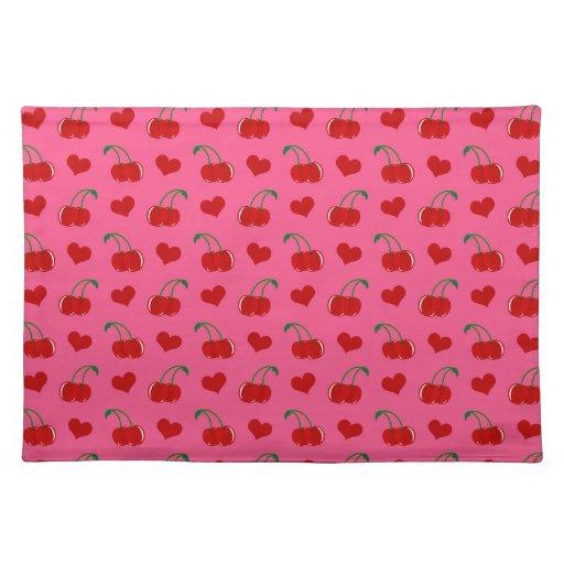Modelo rosado de los corazones de la cereza mantel individual