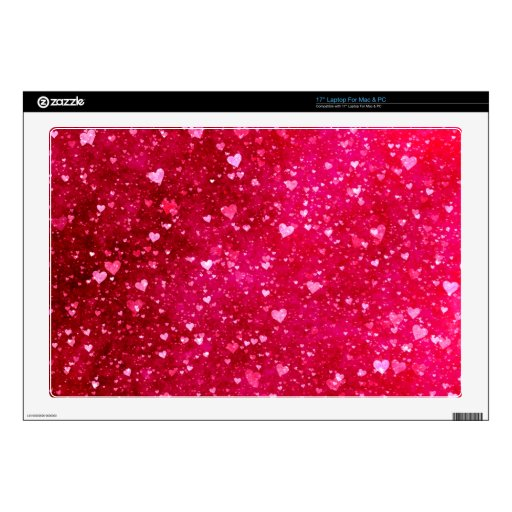 Modelo rosado de los corazones del brillo calcomanía para portátil