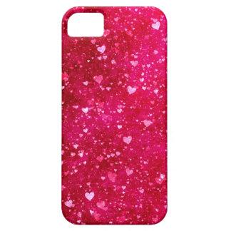 Modelo rosado de los corazones del brillo iPhone 5 Case-Mate funda