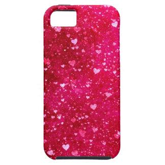 Modelo rosado de los corazones del brillo iPhone 5 coberturas