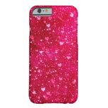 Modelo rosado de los corazones del brillo funda de iPhone 6 barely there