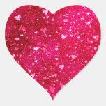 Modelo rosado de los corazones del brillo calcomania de corazon personalizadas