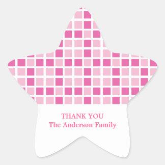 Modelo rosado de los cuadrados pegatina en forma de estrella