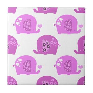 Modelo rosado de los elefantes del bebé del amor teja  ceramica