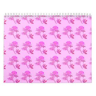 Modelo rosado de los rosas calendario