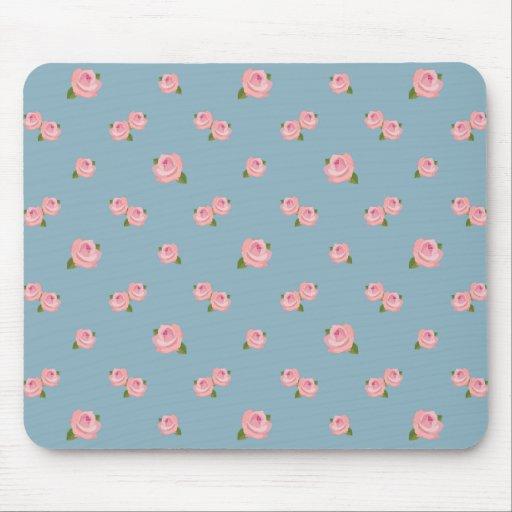 Modelo rosado de los rosas en azul alfombrilla de raton