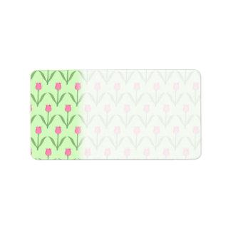 Modelo rosado de los tulipanes en verde. Diseño fl Etiqueta De Dirección
