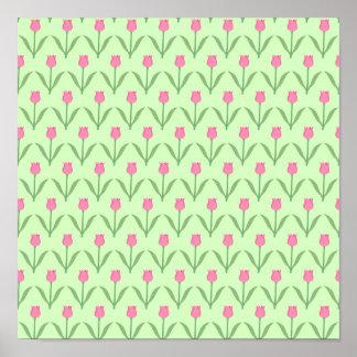 Modelo rosado de los tulipanes en verde. Diseño fl Posters