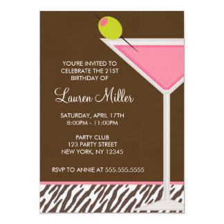 """Modelo rosado de Martini y de la cebra Invitación 5"""" X 7"""""""