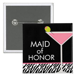 Modelo rosado de Martini y de la cebra Pin Cuadrada 5 Cm