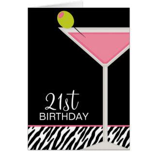 Modelo rosado de Martini y de la cebra Tarjeta De Felicitación