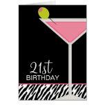 Modelo rosado de Martini y de la cebra Tarjetas