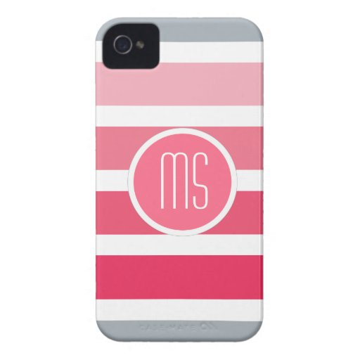 Modelo rosado de MonogramStripes Case-Mate iPhone 4 Fundas