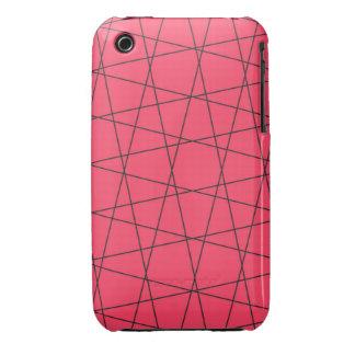 Modelo rosado de neón de las rayas negras iPhone 3 cárcasa